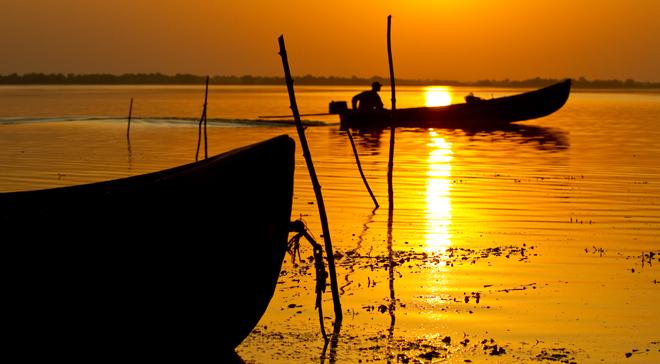 Hot sunset and sunrise in the Danube Delta